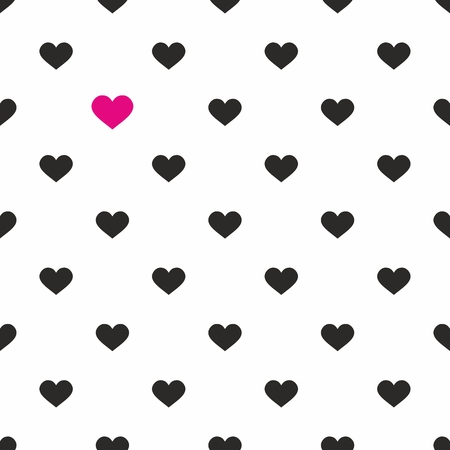pink and black: Tile cute vector pattern with pink and black hearts on white background Illustration