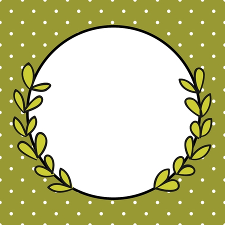 frame vector: Laurel wreath decorative vector frame with white polka dots on green background