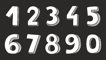 Hand drawn white vector numbers isolated on black background Vettoriali