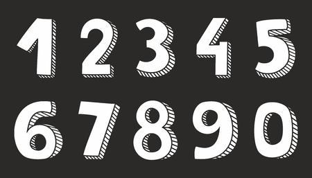 Hand getekende witte vector nummers geïsoleerd op zwarte achtergrond