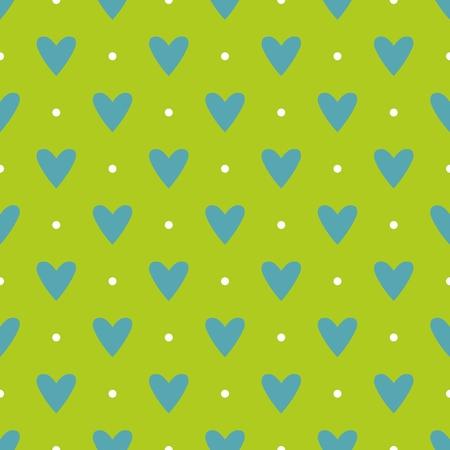 corazones azules: Modelo del azulejo del vector con los corazones azules y lunares blancos sobre fondo verde