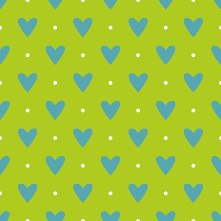 heart background: Tile vector pattern with blue hearts and white polka dots on green background