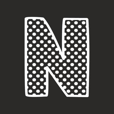 white polka dots: N vector alphabet letter with white polka dots on black background