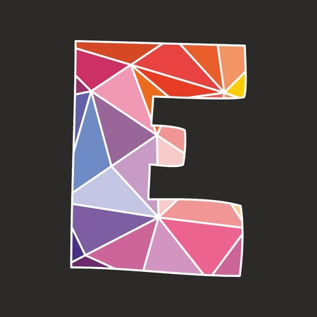 e white: E vector low poly wrapping surface pastel colorful and white alphabet letter isolated on black background Illustration