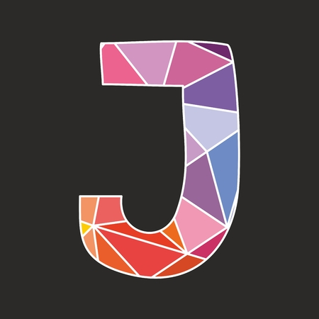 uppercase: J vector low poly wrapping surface pastel colorful and white alphabet letter isolated on black background Illustration