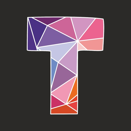 t document: T vector low poly wrapping surface pastel colorful and white alphabet letter isolated on black background