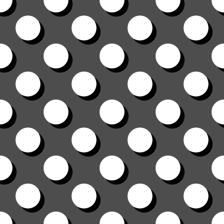 Tile white and grey vector pattern or background with big polka dots with shadow