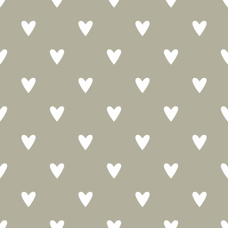 repetition row: Tile cute vector pattern with hand drawn white hearts on dark grey background
