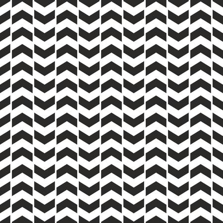 Zig zag chevron black and white tile vector pattern Vectores