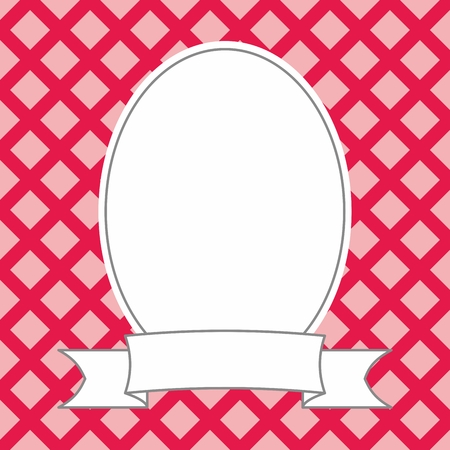 Hand drawn decorative vector photo frame on pink and red background Vectores