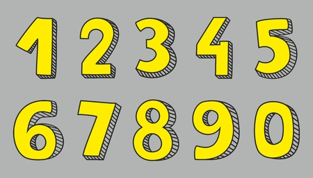 numerical: Hand drawn yellow vector numbers isolated on grey background