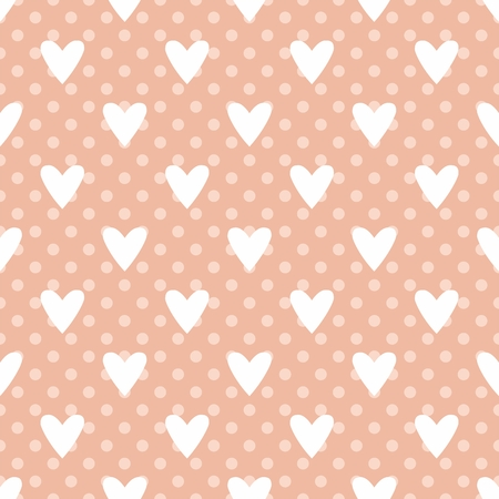 Tile vector pattern with white hearts and polka dots on pastel pink background Stock Illustratie