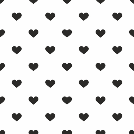 hearts background: Tile vector pattern with black hearts on white background for seamless decoration wallpaper