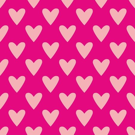 hearts background: Tile cute vector pattern with pink hearts on pastel background