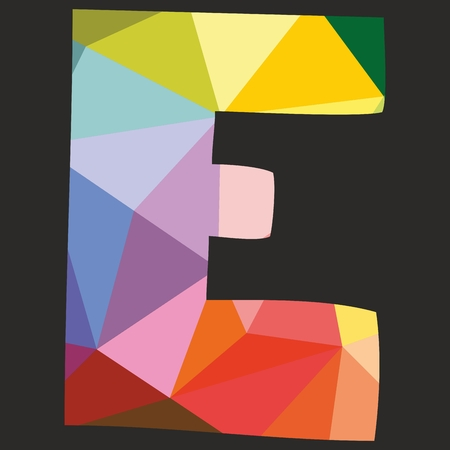e white: E low poly wrapping surface pastel colorful and white alphabet letter isolated on black background Illustration