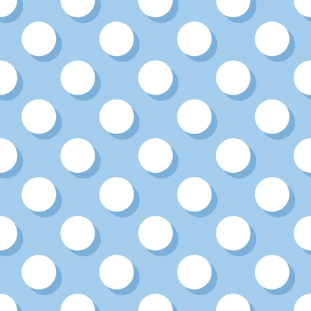 polka: Tile vector pattern with white polka dots on pastel blue background