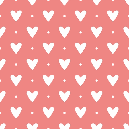 hearts background: Tile cute pattern with white hearts on polka dots on pastel pink background Illustration