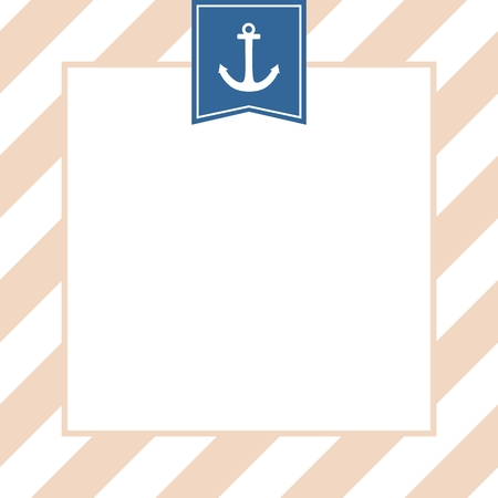 sailing: Nautical vector card or invitation with anchor, pastel background and white stripes Illustration