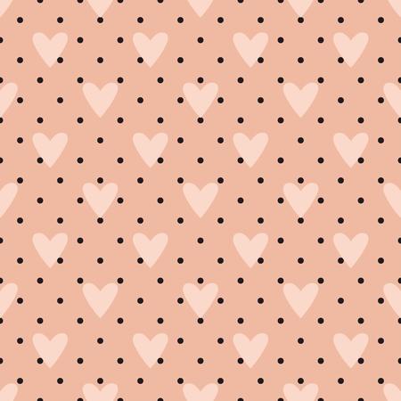 rosa negra: Vector patrón de mosaico con el corazón y unos lunares en color rosa pastel de fondo Vectores