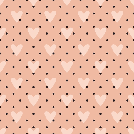 pink and black: Vector tile pattern with hearts and a polka dots on pastel pink background