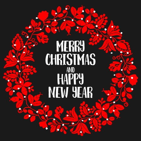 vector vector holiday card with merry christmas and happy new year wishes and red christmas wreath on black background