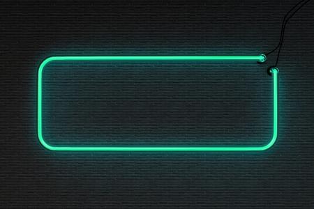 3d neon frame geïsoleerd op zwarte bakstenen muur achtergrond