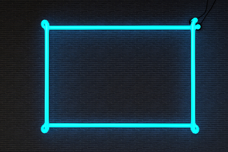 black wall: 3d render neon frame isolated on black brick wall background