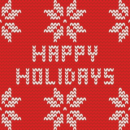 isle: Happy holidays red knitting vector card Illustration