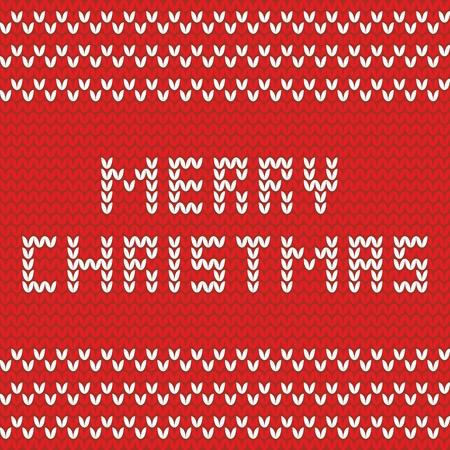 isles: Merry Christmas knitting vector card Illustration