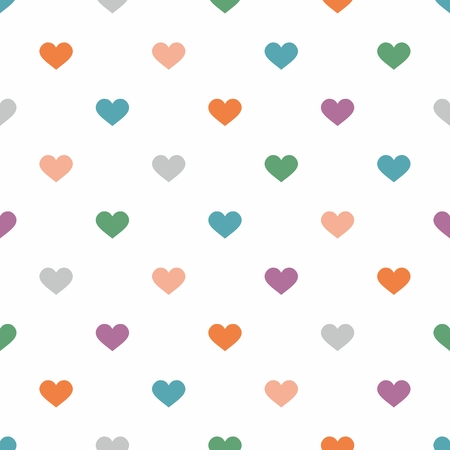 hearts background: Tile cute vector pattern with pastel hearts on white background