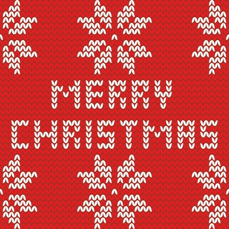 isle: Merry Christmas red and white knitting card