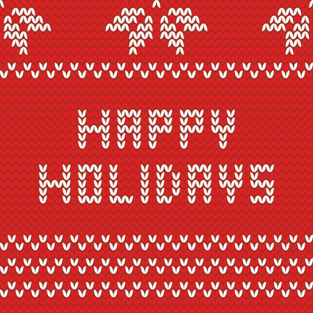 feliz: Felices fiestas tarjeta de tejer rojo Vectores