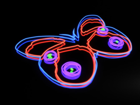 butterfly isolated: Neon butterfly isolated on black background