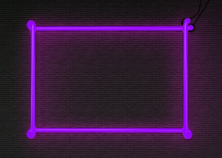 blue wall: 3d render neon frame isolated on black brick wall background