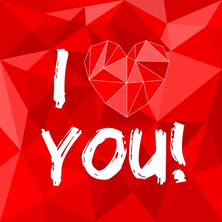 I love you red valentines or mothers day vector card with heart on red wrapping surface background