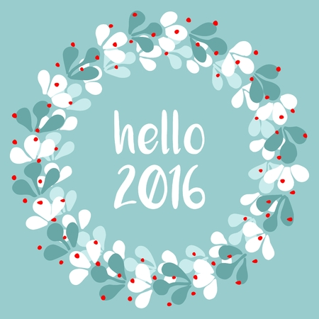 holiday  greetings: Hello 2016 watercolor wreath vector card