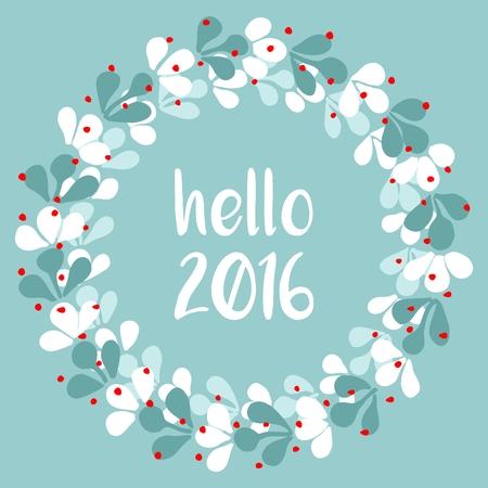 holiday invitation: Hello 2016 watercolor wreath vector card