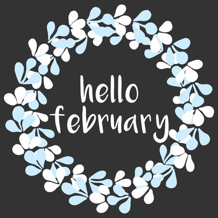 hello: Hello february winter watercolor vector wreath card