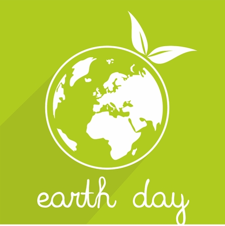 earth hands: Earth day vector icon with green planet