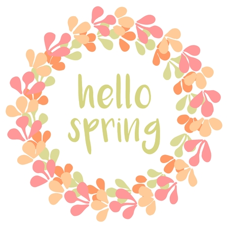 Hello spring watercolor pastel wreath vector card Ilustrace