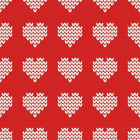christmas plaid: Knitting tile vector pattern with white hearts on red background