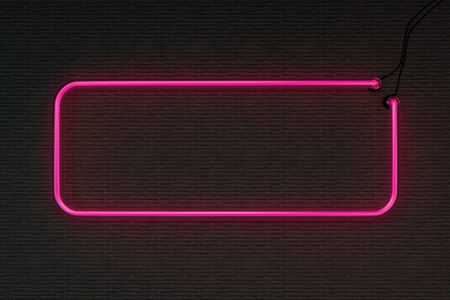 3d render pink neon frame isolated on black brick wall background