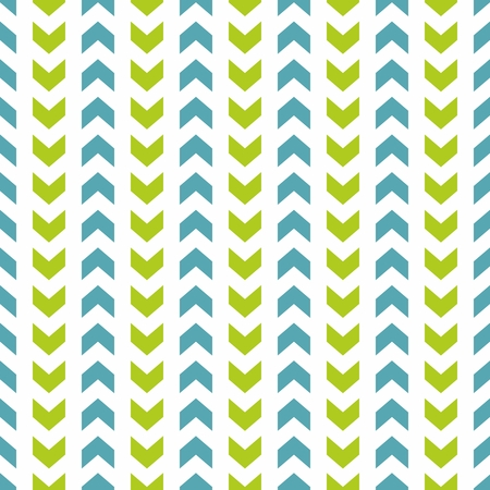 zig: Tile vector pattern with blue and green zig zag print on white background