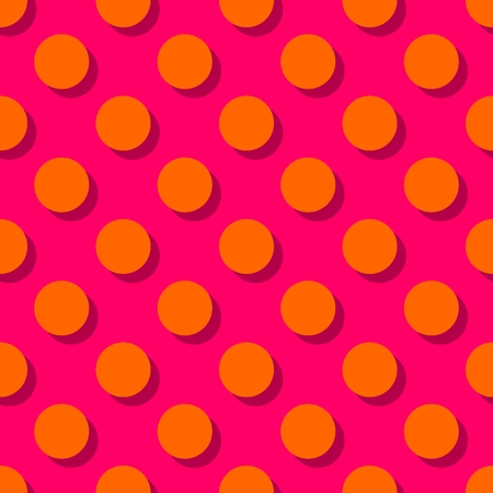 repetition dotted row: Tile pattern with orange polka dots on pink background