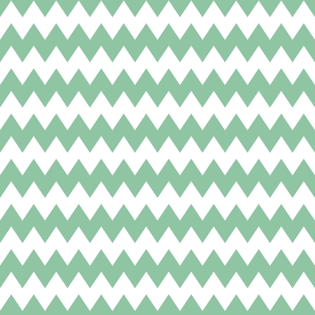 Tile pattern with mint green zig zag print on white background Illustration