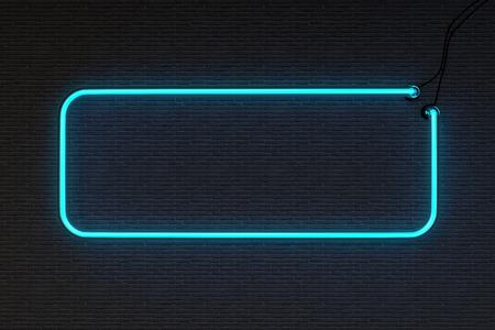 segno: Rendering 3d cornice al neon isolato su mattone nero parete di fondo Archivio Fotografico