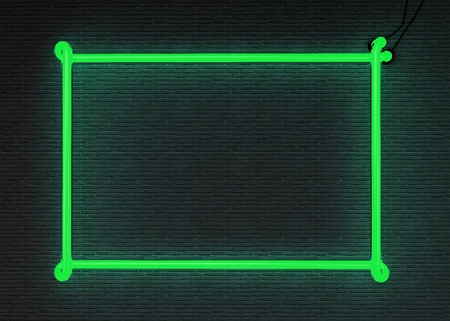 green and black: 3d render green neon frame isolated on black brick wall background