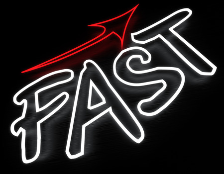 render: Fast neon sign isolated on black background Stock Photo