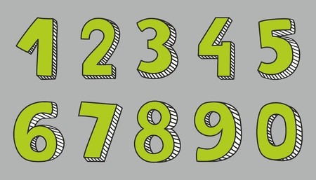 two hands: Hand drawn green numbers isolated on grey background