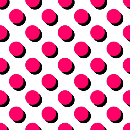 repetition dotted row: Tile pattern with pink polka dots on white background